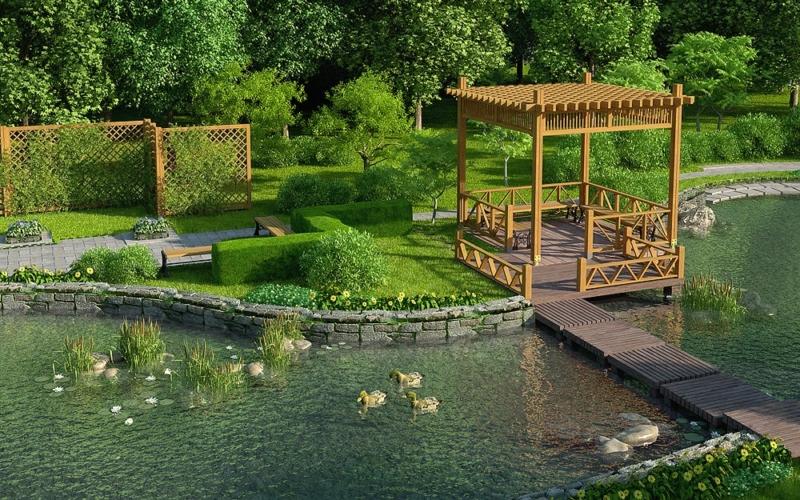 Отличный ландшафтный дизайн водоема в городе Казань