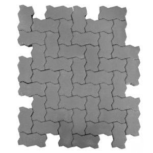Тротуарная плитка Волна, Серый, h=80 мм