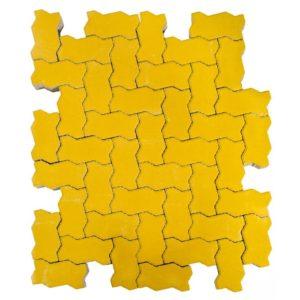 Тротуарная плитка Волна, Желтый, h=80 мм